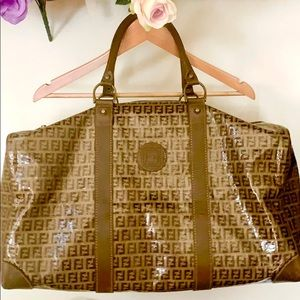 👜🌟 AUTHENTIC FENDI Leather-trimmed Zucchino Bag